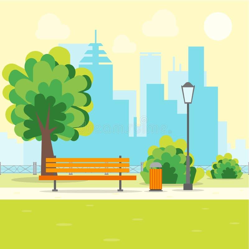 Parque urbano de la historieta con el banco Vector ilustración del vector