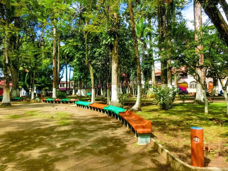 Parque Vargas, City Park in Puerto Limon, Costa Rica. Parque Vargas, City Park in Puerto Limon at Costa Rica stock photo