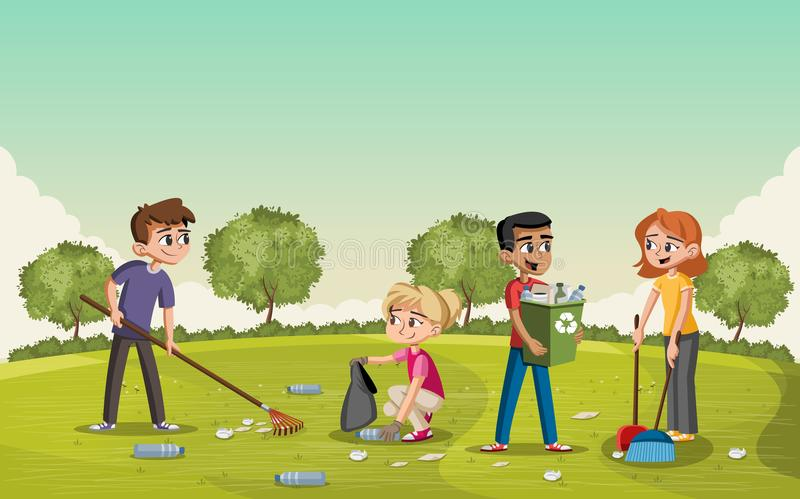 Parque verde colorido con los adolescentes que limpian basura libre illustration