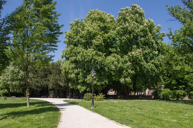 Parque verde em Zagreb, Cro?cia imagens de stock