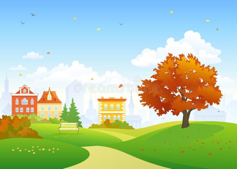 Parque viejo del otoño de la ciudad ilustración del vector
