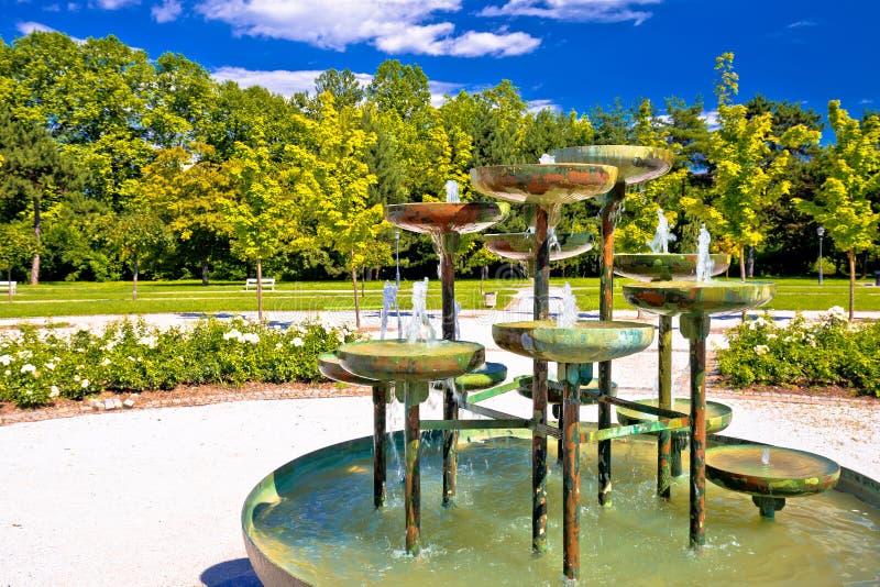 Parque y fuente de Tivoli en Ljubljana fotos de archivo libres de regalías