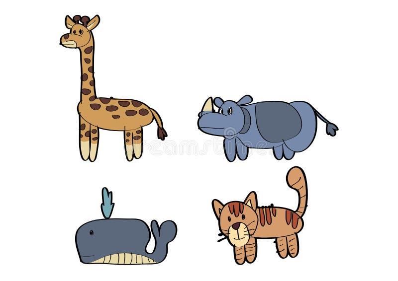 PARQUE ZOOLÓGICO animal del tigre del gato de la ballena del rinoceronte de la jirafa de la historieta ilustración del vector