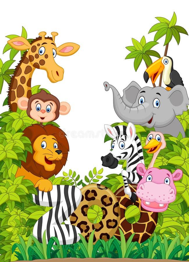 Parque zoológico animal feliz de la colección de la historieta ilustración del vector