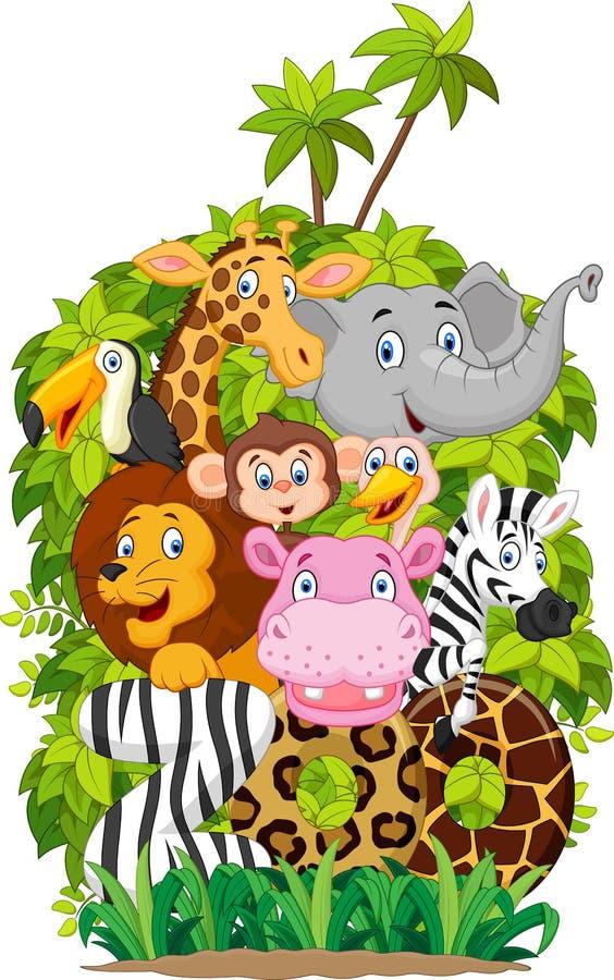 Parque zoológico animal feliz de la colección de la historieta stock de ilustración