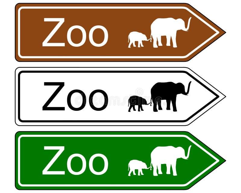 Parque zoológico de la señal de dirección ilustración del vector