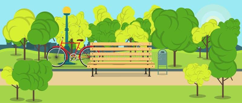 Parquee con el banco, la luz de calle y el diseño plano del ejemplo de la bicicleta del vector del paisaje rojo del concepto libre illustration