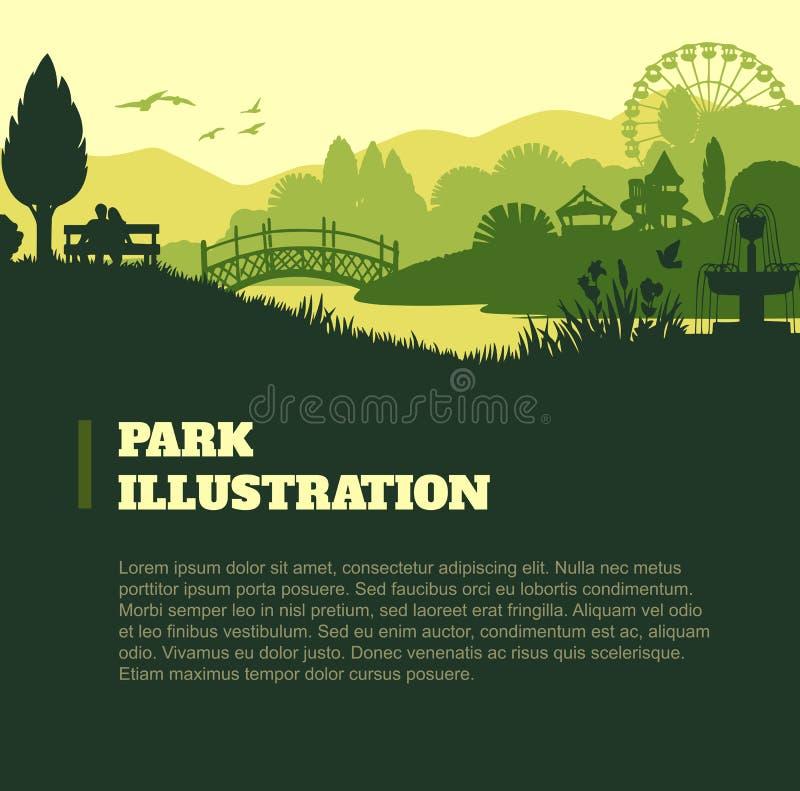 Parquee el fondo del ejemplo, elementos coloreados de las siluetas, planos libre illustration