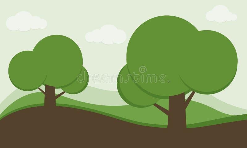 Parquee el fondo, fondo de la naturaleza, fondo del jardín, fondo del paisaje, fondo de la naturaleza de la historieta del niño,  ilustración del vector