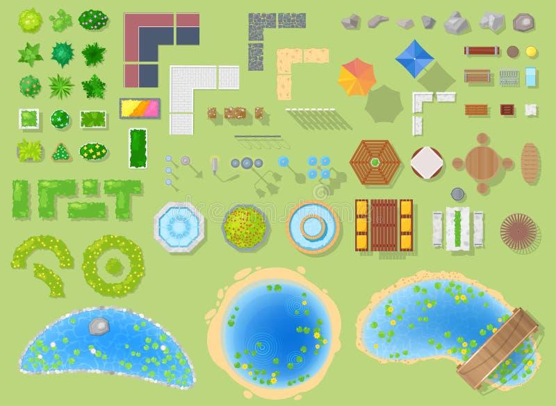 Parquee el paisaje del vector del parkland con los árboles y la fuente verdes del jardín o de la charca en el sistema del ejemplo libre illustration