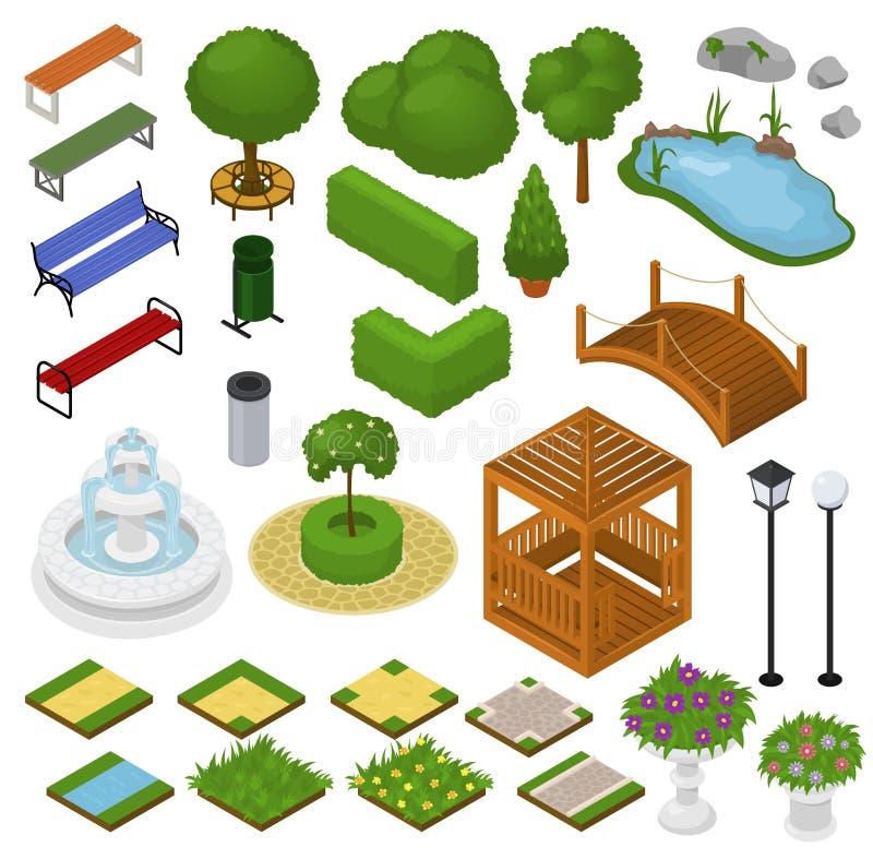 Parquee el parkland del vector con los árboles verdes hierba y fuente o charca del jardín en sistema del ejemplo de la ciudad de  libre illustration