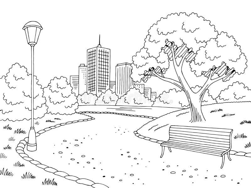 Parquee el vector blanco negro gráfico del ejemplo del bosquejo del paisaje de la lámpara del banco stock de ilustración