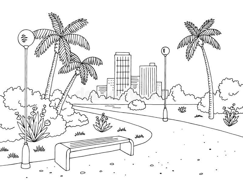 Parquee el vector blanco negro gráfico del ejemplo del bosquejo del paisaje de la lámpara del banco de la palma libre illustration