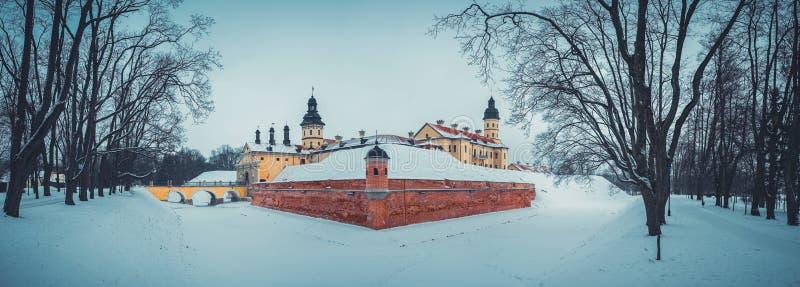 Parquee en la ciudad en el invierno, Bielorrusia de Nesvizh imágenes de archivo libres de regalías