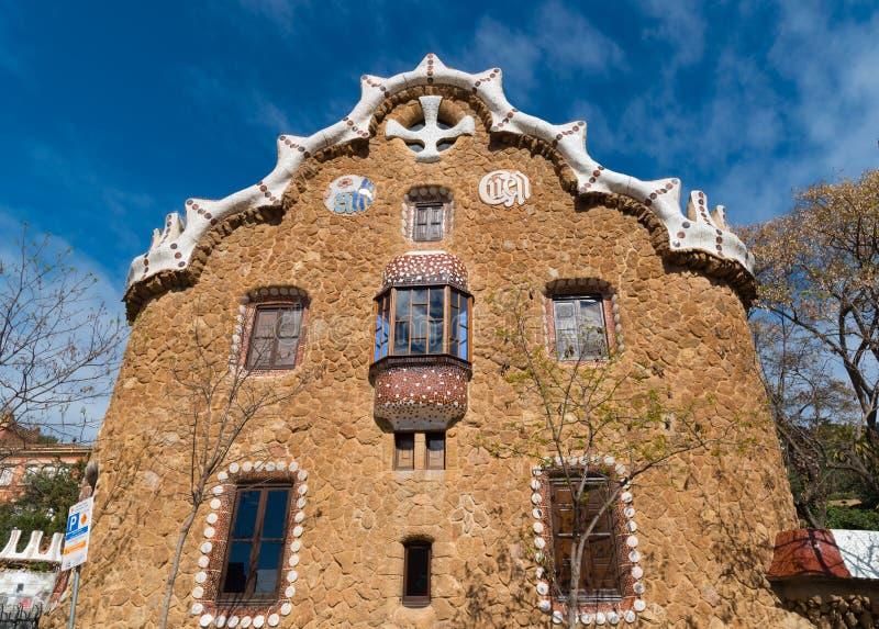 Parquee Guell, casa del cuento de hadas, Barcelona fotografía de archivo libre de regalías