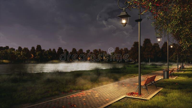 Parquee la calzada encendida por las lámparas de calle en la noche del otoño fotos de archivo