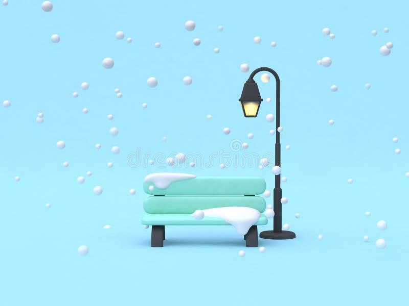 parques de la silla del estilo de la historieta de la escena del concepto de la naturaleza del invierno con la lámpara 3d rendir libre illustration