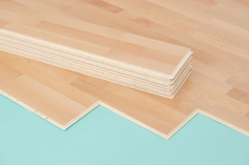 Parquet floor. And footfall sound insulation royalty free stock images