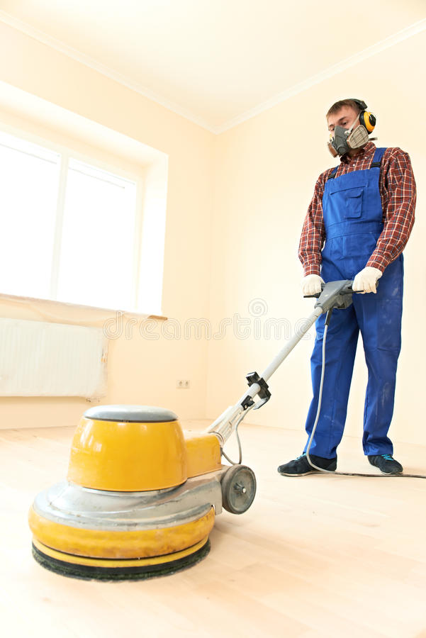 Download Parquet Floor Maintenance By Grinding Machine Stock Image - Image: 26430283