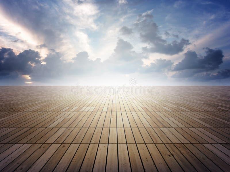 Parquet floor to horizon. Very high resolution rendering of a parquet floor to horizon royalty free illustration