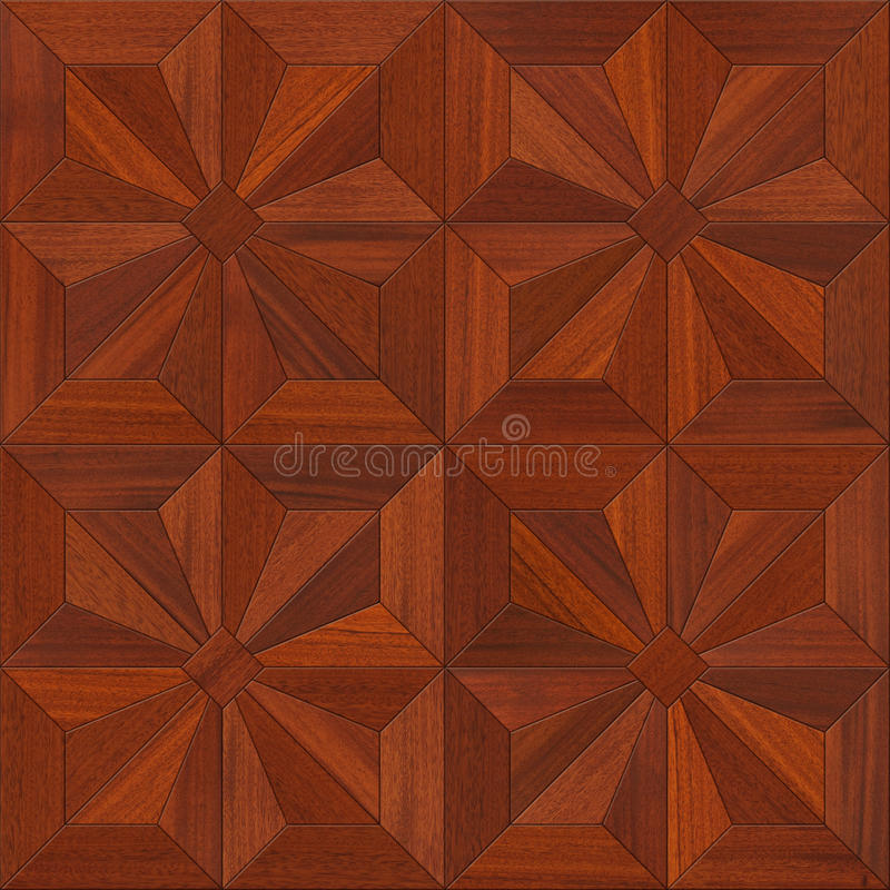 Mahogany Parquet flooring design seamless texture stock photos