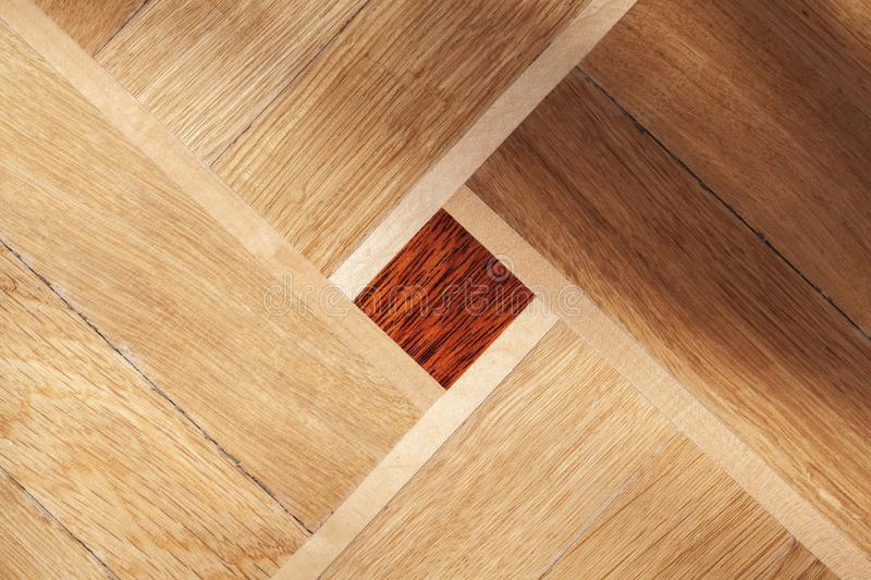 Parquet with geometric ornament royalty free stock photography