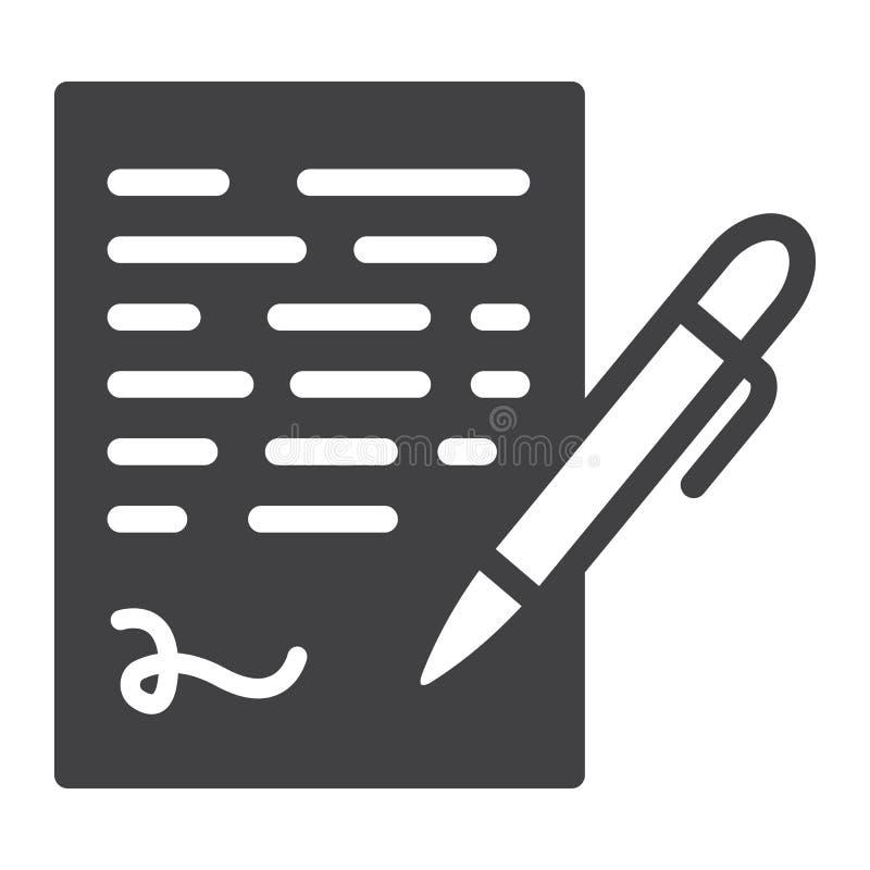Parquez l'icône solide de signature, signe de contrat d'affaires illustration libre de droits