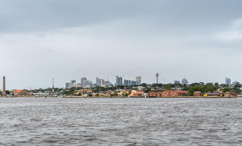 Looking towards downtown Sydney from Parramatta River, Australia. Parramatta, Australia - March 24, 2017: Looking towards skyline of downtown Sydney standing on stock photo