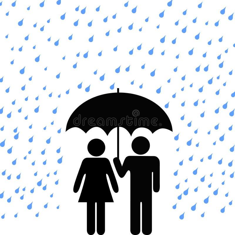 parregn säkrar paraplyet royaltyfri illustrationer