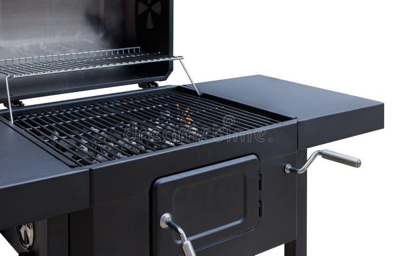 Parrilla, Bbq, fuego, barbacoa del carbón de leña, primer Rejilla del asador para cocinar al aire libre imagen de archivo