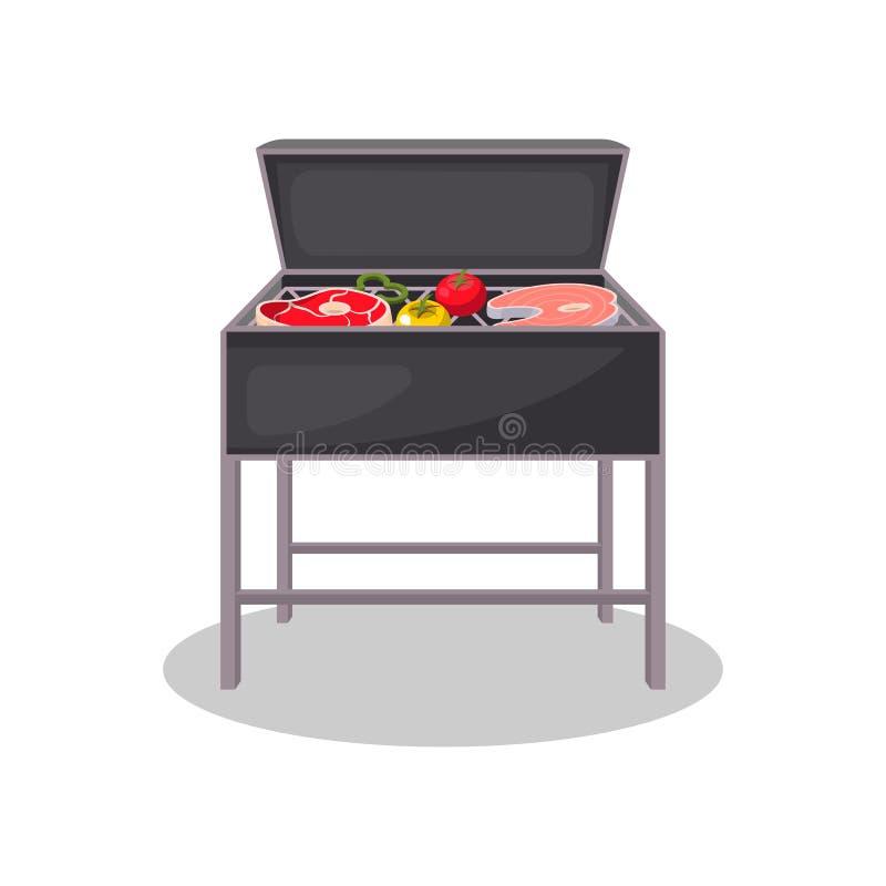 Parrilla de la caldera con la carne y las verduras asadas a la parrilla stock de ilustración