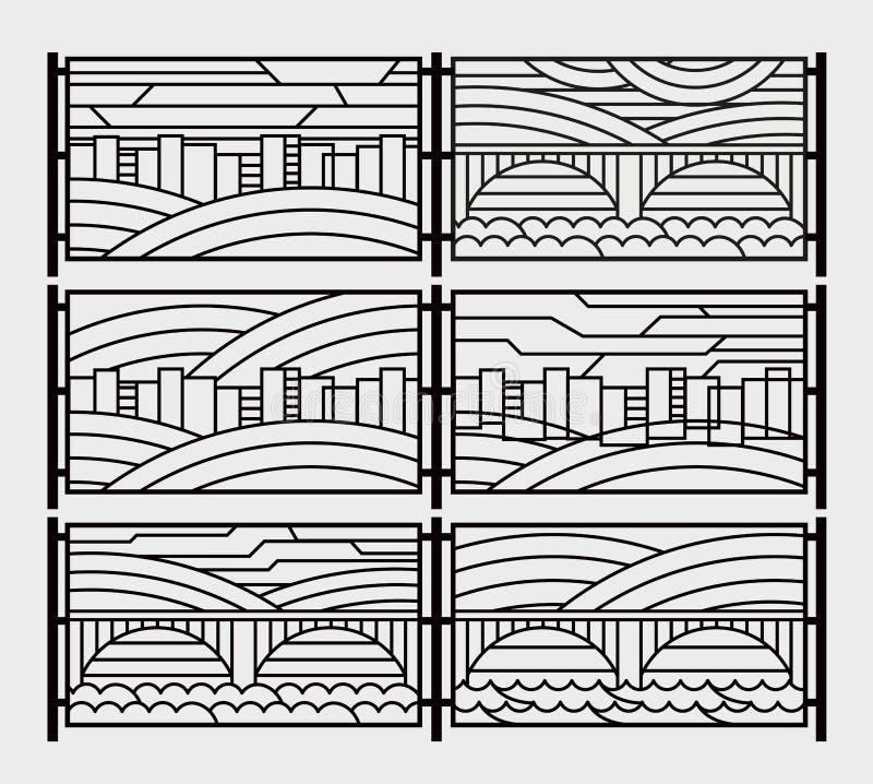 Parrilla decorativa para una cerca o una rejilla de la chimenea Gráficos estilizados ciudad, río, puente, cielo stock de ilustración