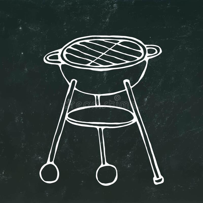 Parrilla del Bbq Equipo del partido del verano En un fondo negro de la pizarra Bosquejo dibujado mano realista Vec del estilo de  stock de ilustración