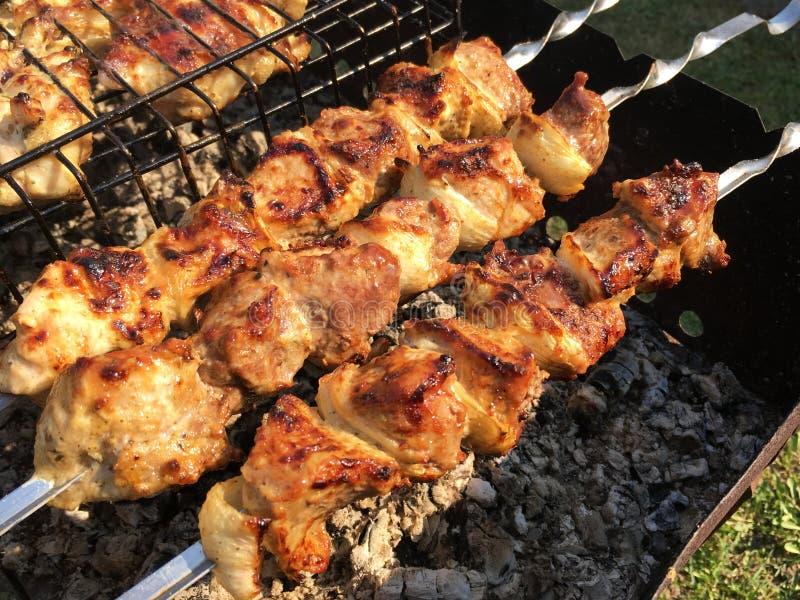 Parrilla en los carbones con el humo, barbacoa Pedazos de carne del pollo asados a la parrilla en la parrilla fotos de archivo
