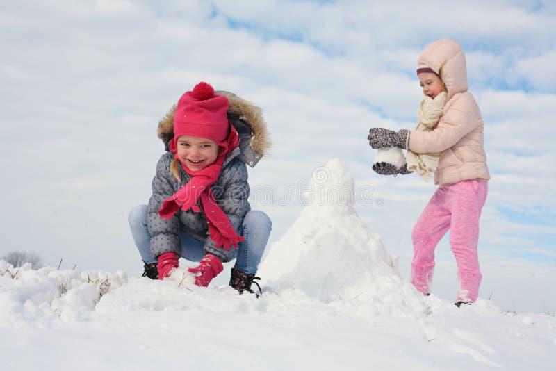 Parrilla linda dos en la nieve foto de archivo libre de regalías