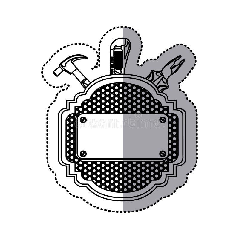 parrilla metálica heráldica del marco de la silueta de la etiqueta engomada perforada con las herramientas libre illustration
