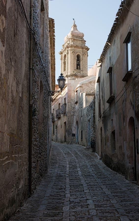 Parrocchia圣米谢勒Arcangelo在埃里切,特拉帕尼 意大利西西里岛 库存图片