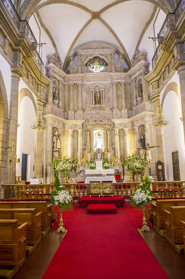 Parroquia De Nuestra Senora Del Rosario church in Guadalajara. GUADALAJARA , MEXICO - AUG 29 : The interior of Parroquia De Nuestra Senora Del Rosario church in stock image