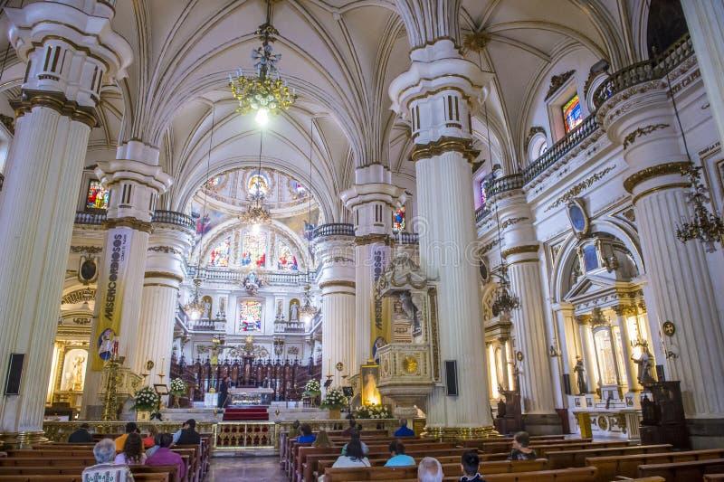 Parroquia De Nuestra Senora Del Rosario church in Guadalajara. GUADALAJARA , MEXICO - AUG 29 : The interior of Parroquia De Nuestra Senora Del Rosario church in royalty free stock photography