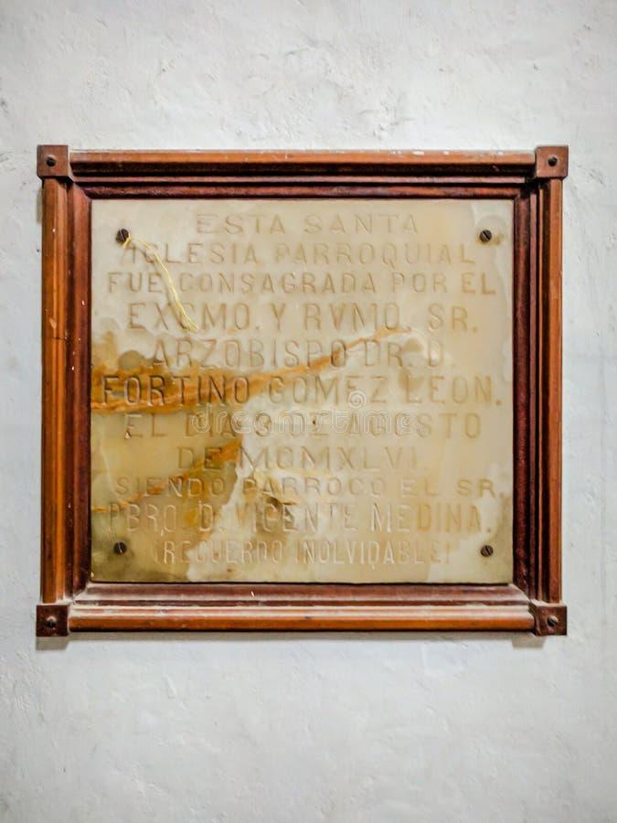 Parroquia de Santo Domingo de Guzman Placard Oaxaca imagen de archivo