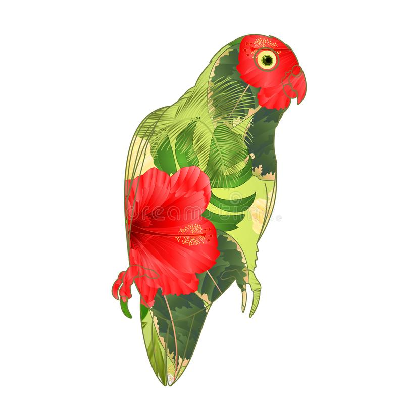 Parrot Agapornis lovebird tropical bird floral pattern red and yellow hibiscus palm on a white background vector illustration edi vector illustration