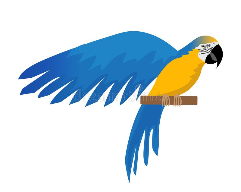 Parrot Ara ararauna flat icon, cartoon style. Blue-and-yellow macaw character. Colored bird flies. Isolated on white vector illustration