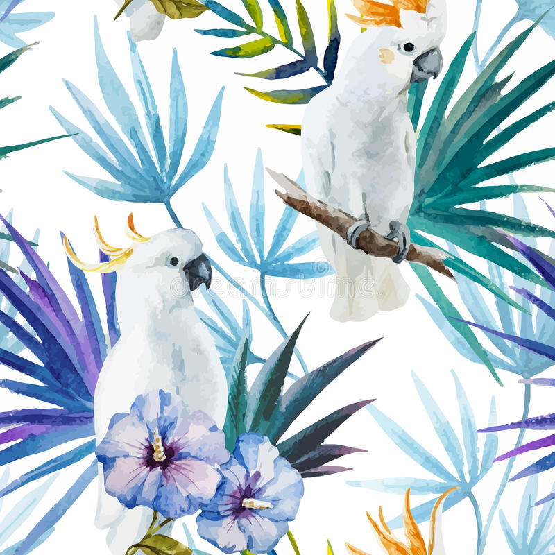 Parrot. Beautiful watercolor tropic pattern with white parrot