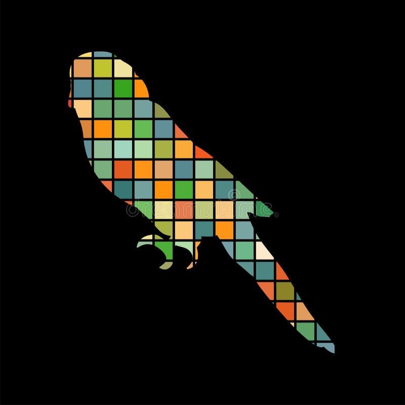Parrot budgerigar bird mosaic color silhouette animal background. Black. Vector Illustrator stock illustration