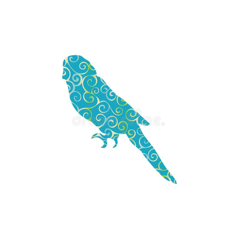 Parrot budgerigar bird spiral pattern color silhouette animal. Vector Illustrator royalty free illustration