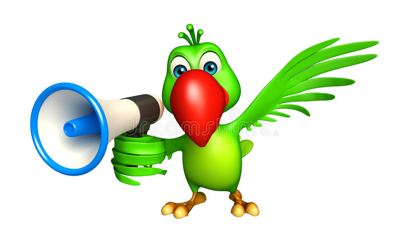 Parrot cartoon character with loud speaker stock illustration