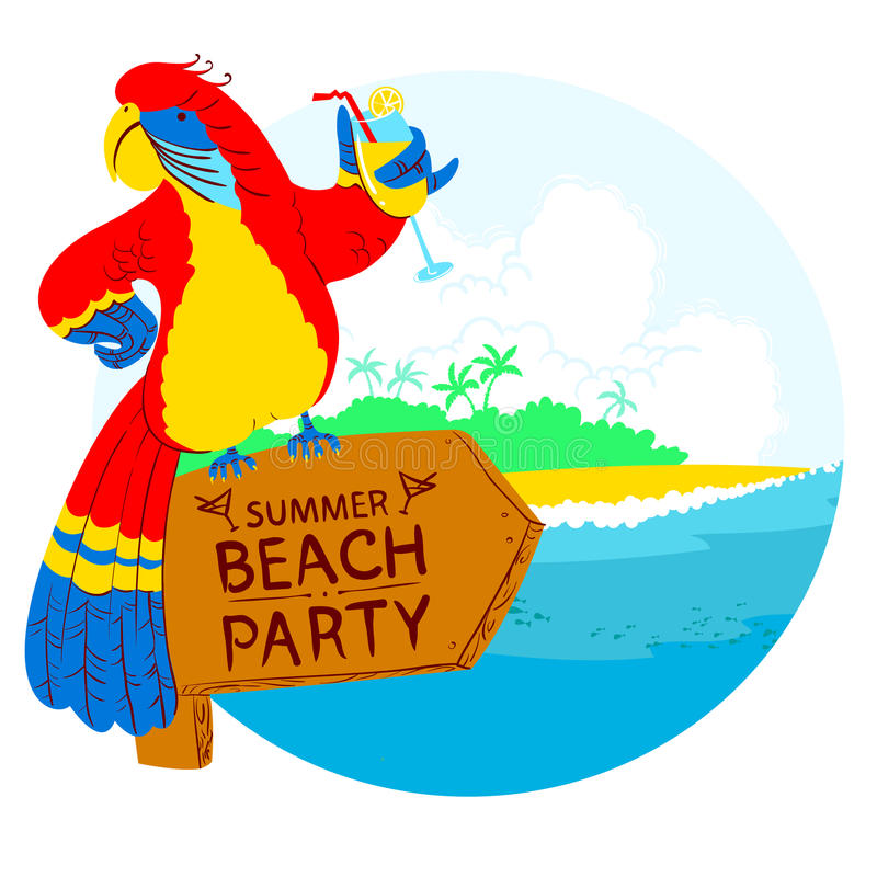 parrot with cocktail on wooden designator to the tropical beach rh dreamstime com beach party clip art free summer beach party clip art