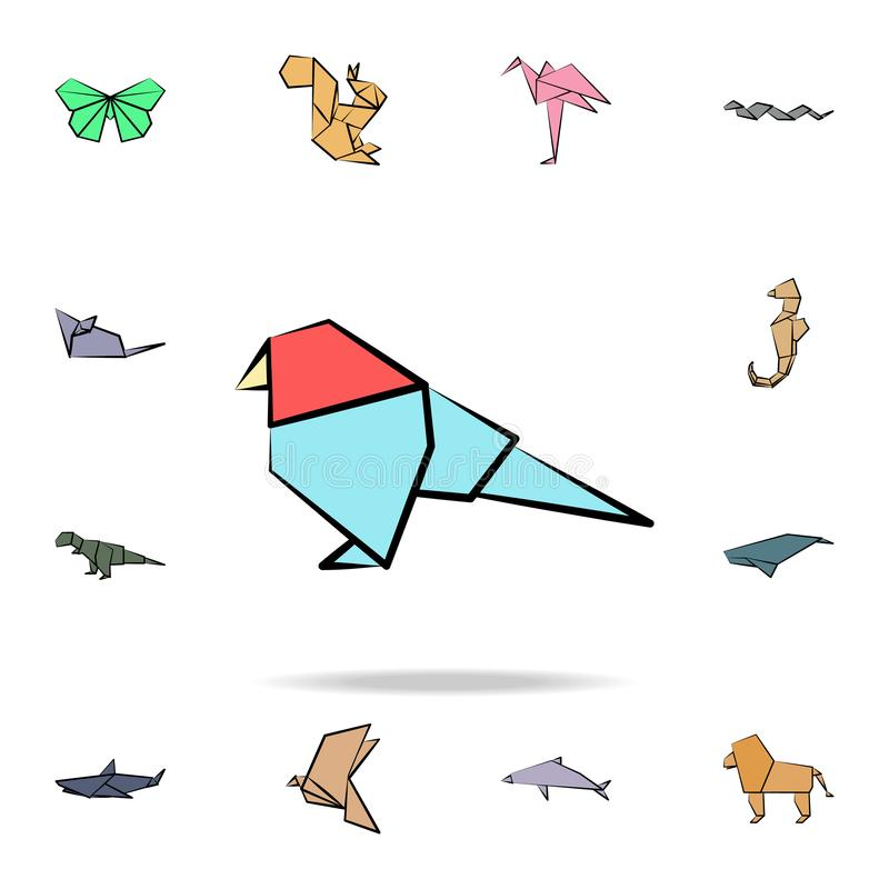 A parrot colored origami icon. Detailed set of origami animal in hand drawn style icons. Premium graphic design. One of the. Collection icons for websites, web vector illustration