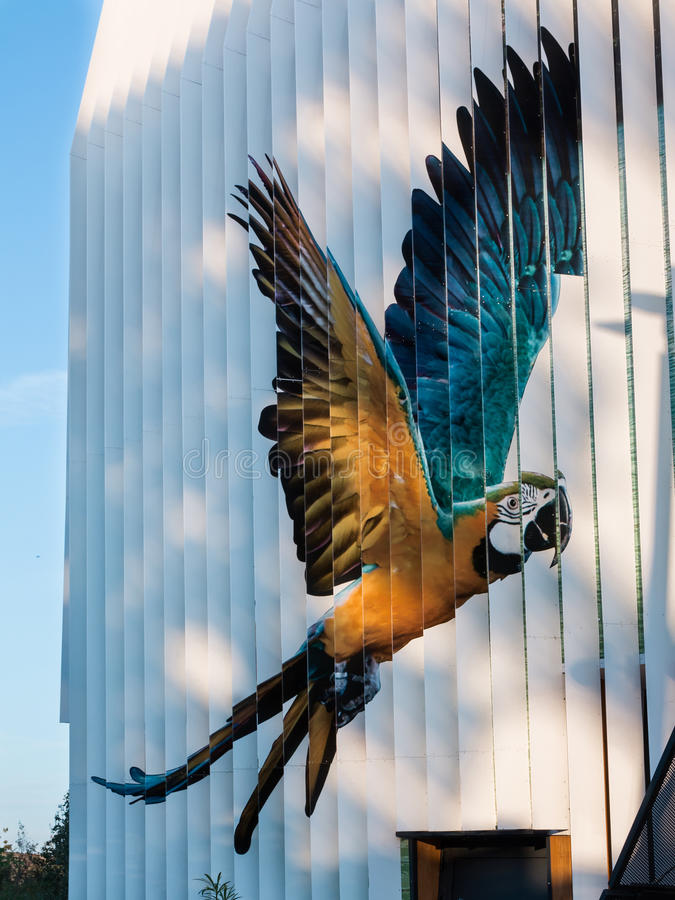 Parrot Decoration in Building Facade at Universal Exposition& x27;s P royalty free stock images