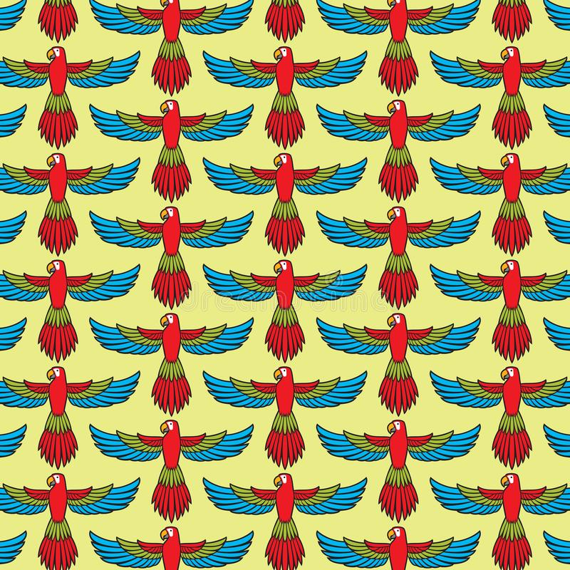 Parrot flying vector pattern background stock illustration